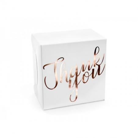 Pudełko thank you złoto różowy napis 14 x 8,5 x 14  cm