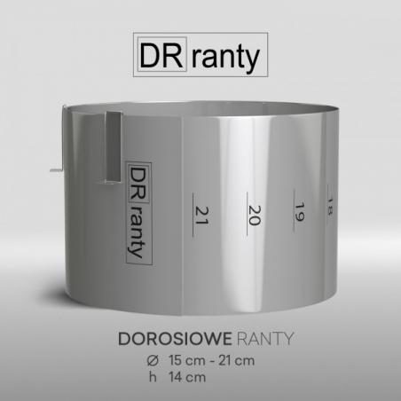 Zestaw 3 rantów cukierniczych regulowanych, okrągłych z podziałką, wys. 14 cm Dorosiowe Ranty + 1 rant gratis