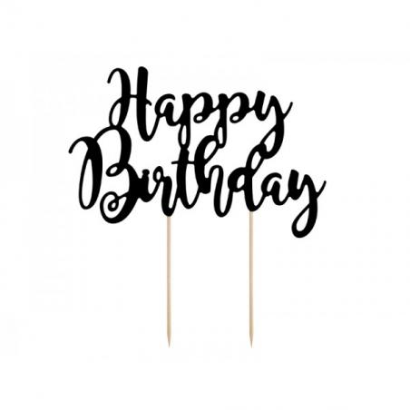 Topper happy birthday czarny