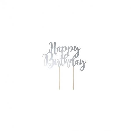 Topper happy birthday srebrny
