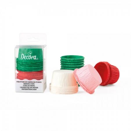 Papilotki do minimuffinek czerwone i zielone sztywne z wywinięciem 35 szt.