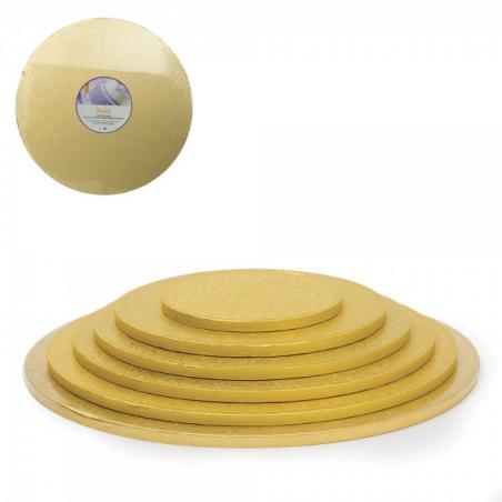 Podkład pod tort złoty okrągły b. gruby śr. 25 cm