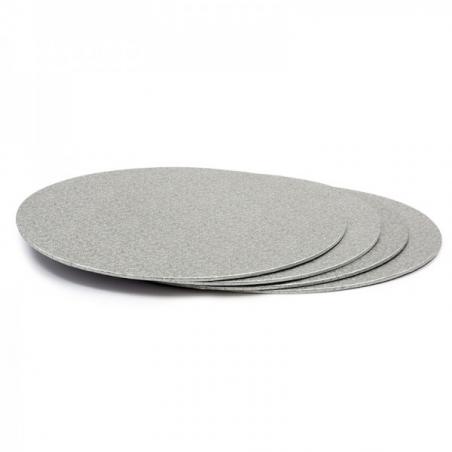 Podkład pod tort srebrny okrągły śr. 25 cm sztywny gr. 3mm