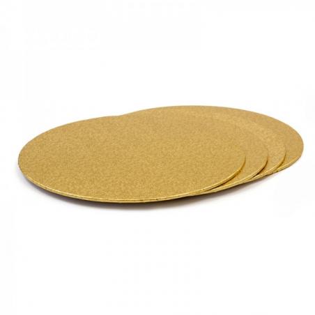 Podkład pod tort złoty okrągły śr. 20 cm sztywny gr. 3mm