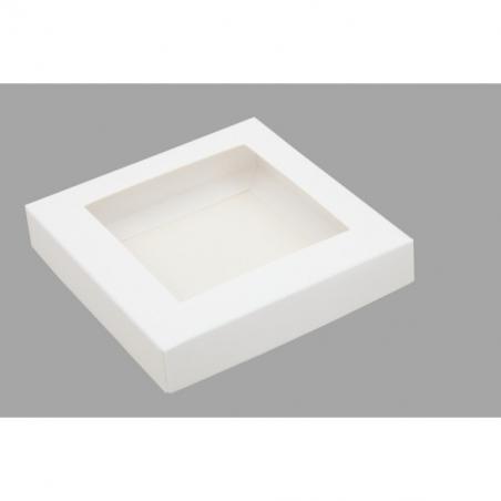 Pudełko białe z okienkiem 10,5 x 10,5 x 2 cm