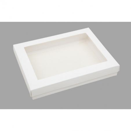 Pudełko białe z okienkiem 22 x 15 x 2 cm