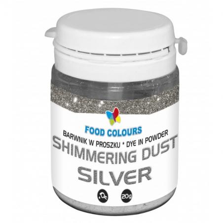 Barwnik spożywczy srebrny w proszku shimmering dust 20g