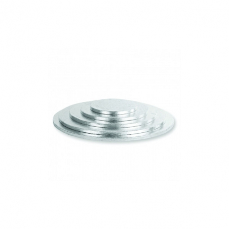 Podkład pod tort srebrny okrągły b. gruby śr. 25 cm