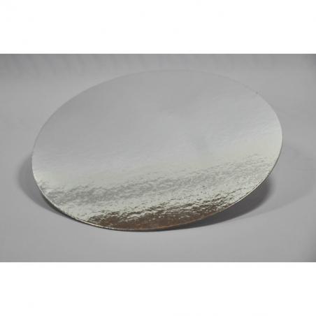 Podkład pod tort srebrny okrągły śr. 26 cm, Zestaw 100 szt.