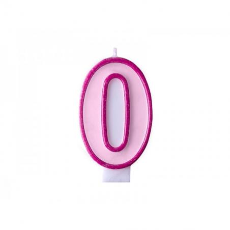 Świeczka różowa cyfra 0