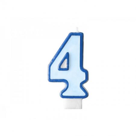 Świeczka niebieska cyfra 4
