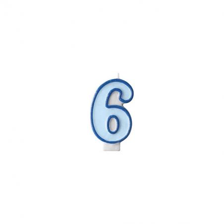 Świeczka niebieska cyfra 6