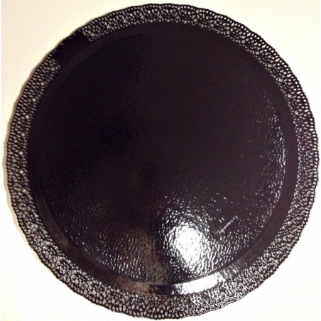 Podkład pod tort czarny okrągły z koronką 35 cm