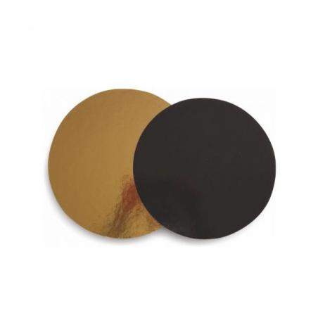 Podkład pod tort złoto czarny okrągły śr. 28 cm sztywny gr. 2400