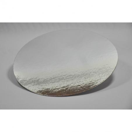 Podkład pod tort srebrny okrągły śr. 24 cm, Zestaw 100 szt.