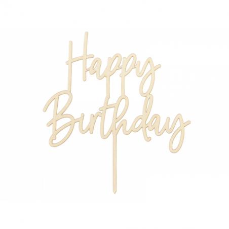 Toper Happy Birthday drewniany