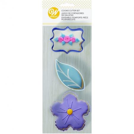 Foremki wykrawaczki kwiatek, listek, ramka 3 szt