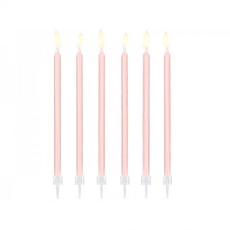 Świeczki długie różowe pastelowe 12 szt.