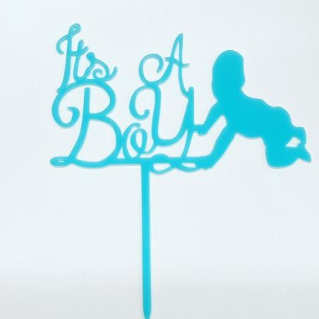 """Topper """"It's A Boy"""" błękitny, plexi"""