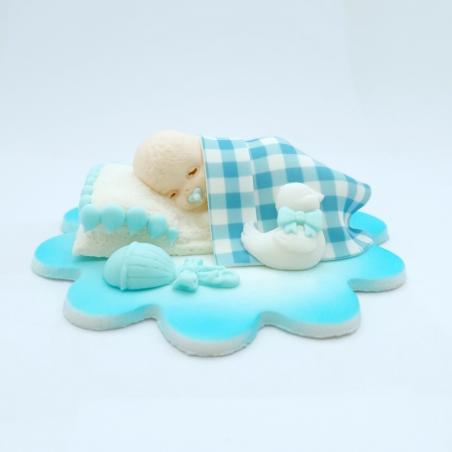 Dekoracja cukrowa śpiący bobas niebieski