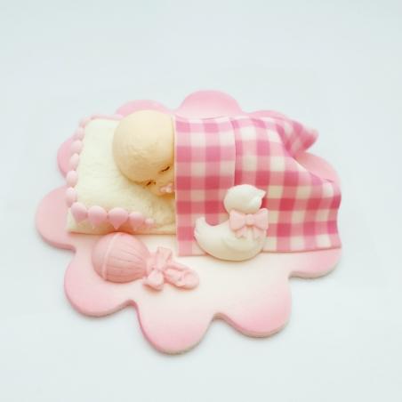 Dekoracja cukrowa śpiący bobas różowy