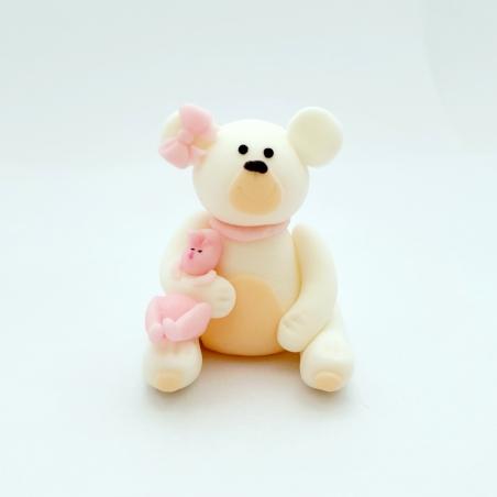 Dekoracja cukrowa miś z króliczkiem i różową kokardką biały