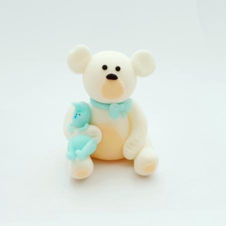 Dekoracja cukrowa miś z króliczkiem i niebieską kokardką biały