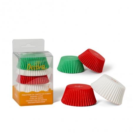Papilotki do muffinek świąteczne kolory (czerwone białe zielone) 75szt.