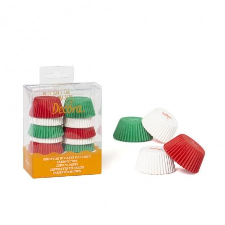 Papilotki do minimuffinek świąteczne kolory (czerwone białe zielone) 200szt.