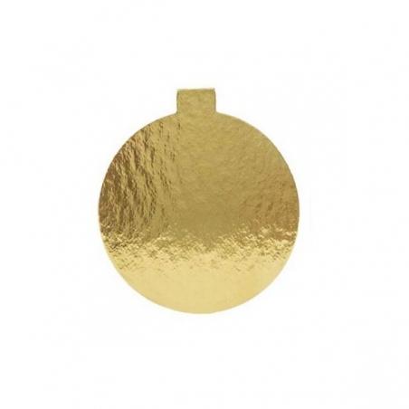 Podkład do monoporcji, złoty okrągły z uchwytem śr. 8 cm, 50 szt.