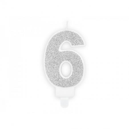 Świeczka srebrna brokatowa cyfra 6