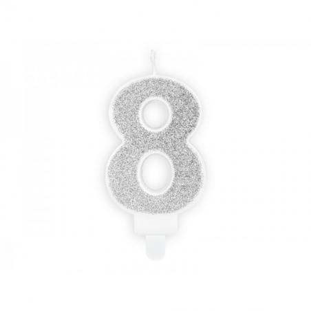 Świeczka srebrna brokatowa cyfra 8