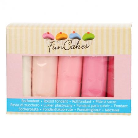 Masa cukrowa 5 x 100 g (różne kolory) różowe