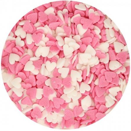Posypka serca biało-różowe