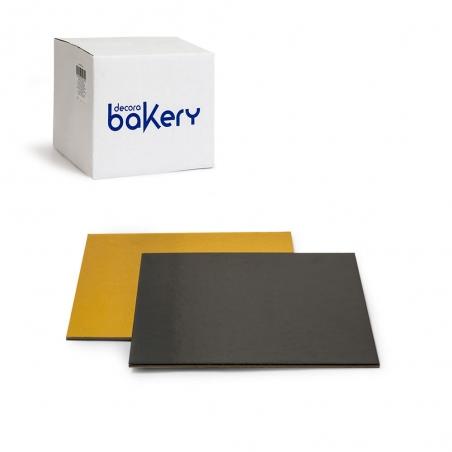 Podkład pod tort kwadratowy złoto czarny sztywny 28 x 28 cm