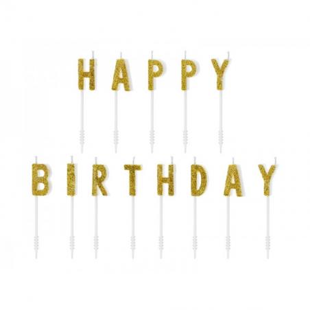 Świeczki urodzinowe Happy Birthday złote 13 szt.