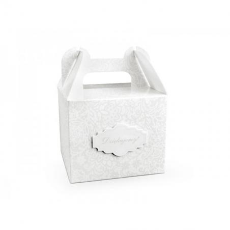 """Ozdobne pudełko na ciastko, babeczkę """" Dziękujemy """" 11,5 x11,5 x 9,5 cm"""
