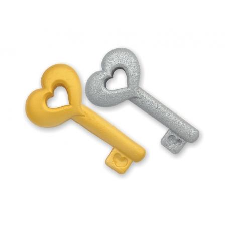 Dekoracja cukrowa klucze srebrne 6szt