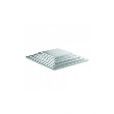 Podkład pod tort srebrny kwadratowy b. gruby 20 x 20 cm