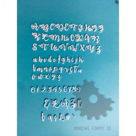 Alfabet litery cyfry wywijasy miniowe formy