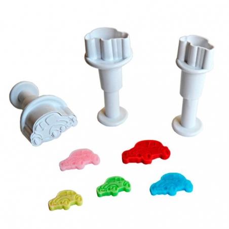 Stempelki wykrawaczki Mini samochody zestaw 3 szt.