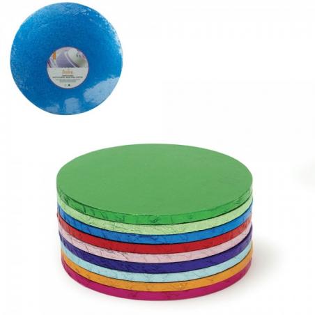 Podkład pod tort intensywny niebieski okrągły b. gruby śr. 25 cm