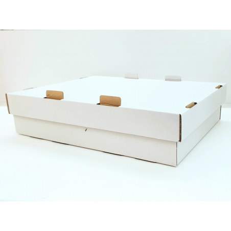 Pudełko na tort białe dwuczęściowe prostokątne 32 x 42 x 10 cm