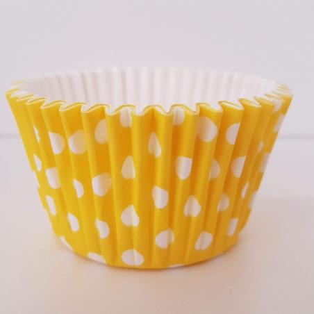 Papilotki do muffinek żółte w groszki laminowane, 30 szt.