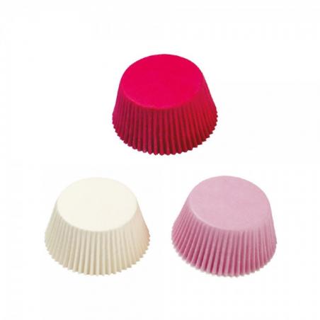 Papilotki do minimuffinek fuksja białe różowe 200 szt.