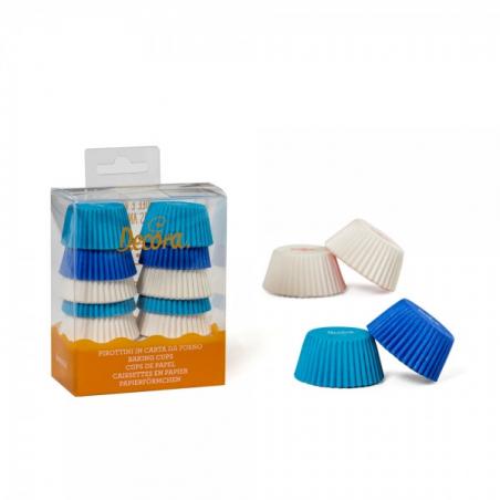 Papilotki do minimuffinek niebieskie białe granatowe 200 szt.